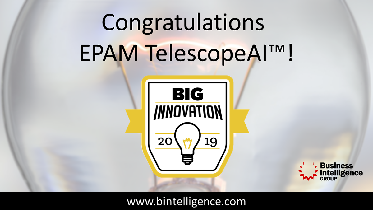 EPAM Wins 2019 Big Innovation Award for TelescopeAI™